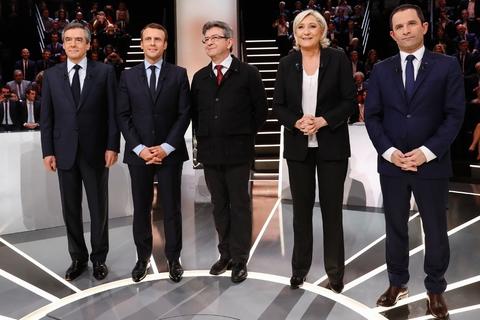 La question de la laïcité a brusquement fait monter la température du premier débat télévisé entre Francois Fillon, Emmanuel Macron, Jean-Luc Melenchon, Marine Le Pen et Benoit Hamon, le 20 mars à Aubervilliers