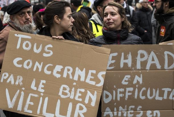 Une manifestation des salariés d'EHPAD à Lyon, le 30 janvier 2018
