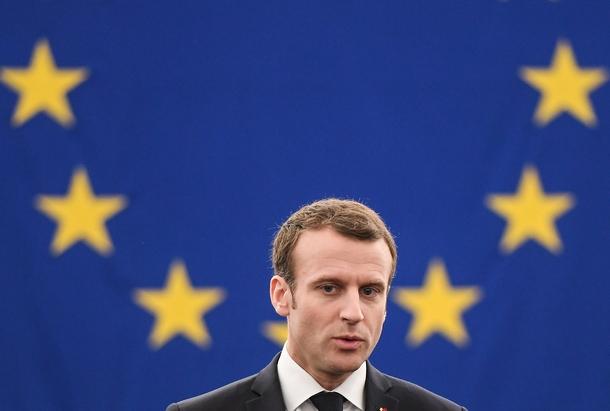 Le président français Emmanuel Macron prononce un discours devant le Parlement européen à Strasbourg, le 17 avril 2018