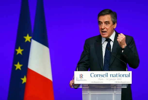François Fillon lors de son discours devant le conseil national LR le 14 janvier 2017 à Paris