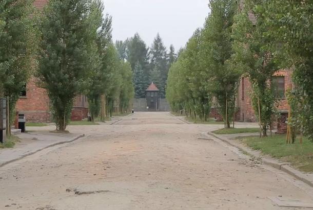 """Vue du camp d'Auschwitz-Brikenau - extrait du documentaire """"Auschwitz Muzeum"""""""