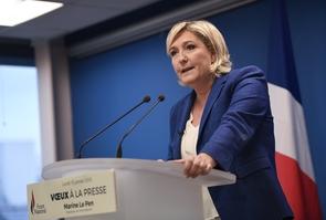 Marine Le Pen, présidente du Front National, lors des voeux à la presse, le 15 janvier 2018 au siège du parti à Nanterre