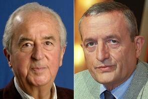 L'ancien Premier ministre Edouard Balladur (g) en septembre 2003 à Moliets et l'ancien ministre de la Défense en février 2002 à Paris