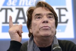 """Bernard Tapie lors d'une conférence de presse pour le lancement de la web de """"La Provence"""", à Marseille le 12 mars 2014"""