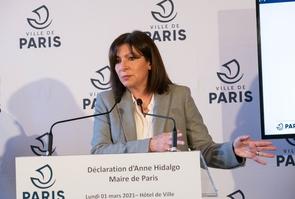 Paris:Anne Hidalgo during a press conference