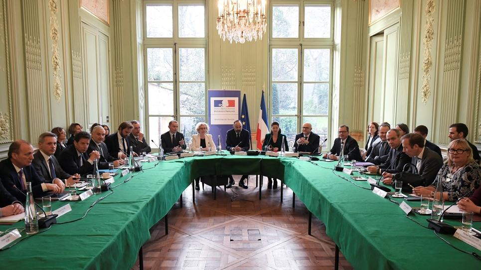 Une réunion avec les partenaires sociaux sur la réforme des retraites, le 7 janvier 2020