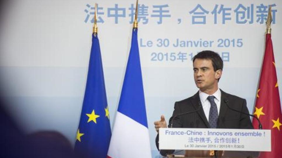 Le Premier Ministre Manuel Valls, le 30 janvier 2015 à Pékin