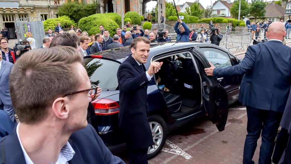 Le président Emmanuel Macron le 26 mai 2019 au Touquet après avoir voté aux européennes