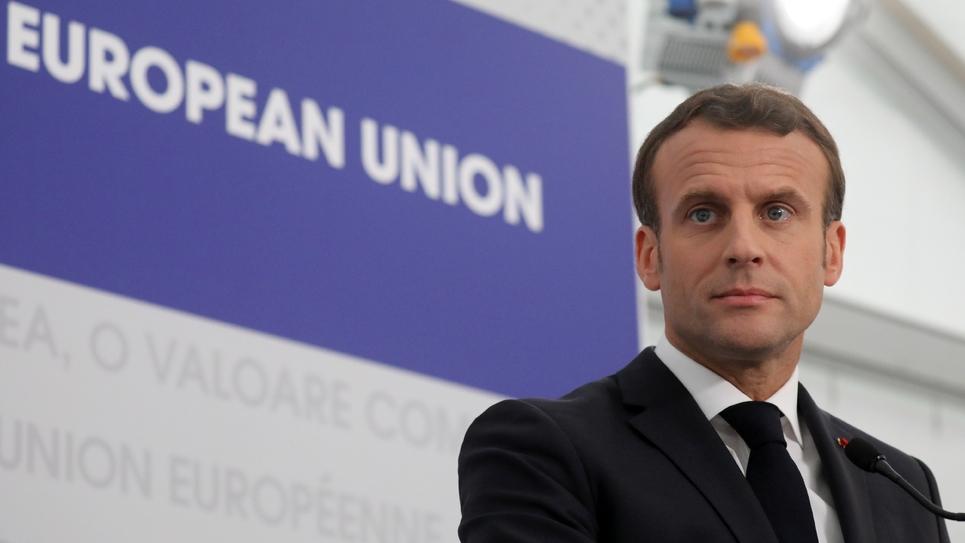 Le président Emmanuel Macron lors d'une conférence de presse, le 9 mai 2019 à Sibiu, en Roumanie