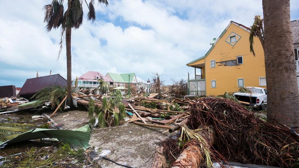Une photographie prise le 7 septembre 2017, montrant les dégâts causés par Irma sur l'île de Saint-Martin