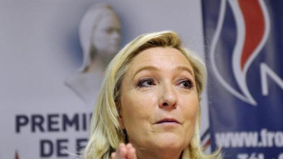 Marine Le Pen, présidente du FN, lors d'une conférence de presse à Orléans le 6 mars 2015