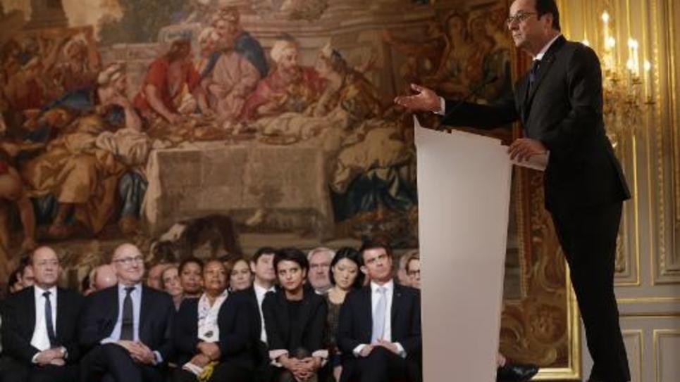 François Hollande lors d'une conférence de presse à l'Elysée, le 5 février 2015 à Paris
