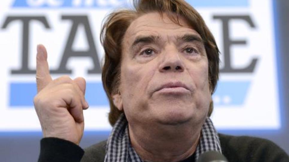 L'homme d'affaires Bernard Tapie lors d'une conférence de presse le 12 mars 2014 à Paris