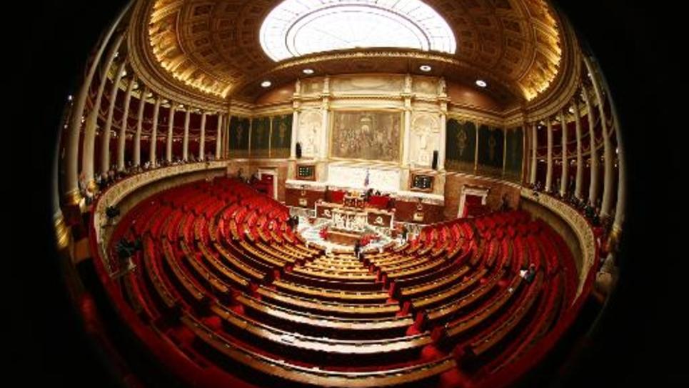 L'hémicycle de l'Assemblée nationale, le 4 mars 2009 à Paris