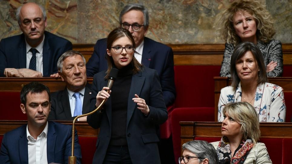 La porte-parole de LREM Aurore Bergé à l'Assemblée nationale, à Paris, le 7 mai 2019