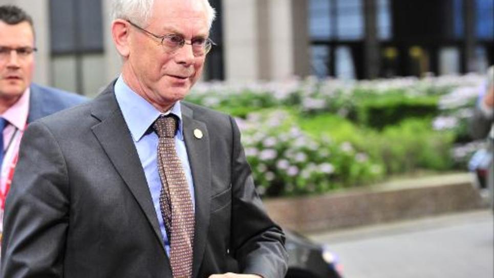 Le président du Conseil européen Herman Van Rompuy arrive à la réunion des chefs d'Etat et de gouvernement de l'UE consécutive aux résultats des élections européennes, le 27 mai 2014 à Bruxelles