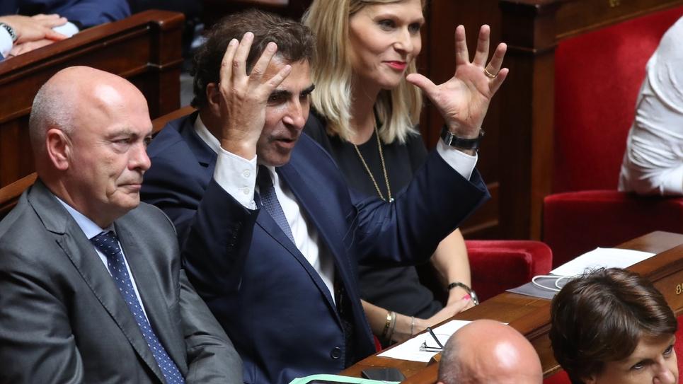 Christian Jacob (c), chef de file des députés Les Républicains à l'Assemblée nationale, le 10 juillet 2018 à Paris