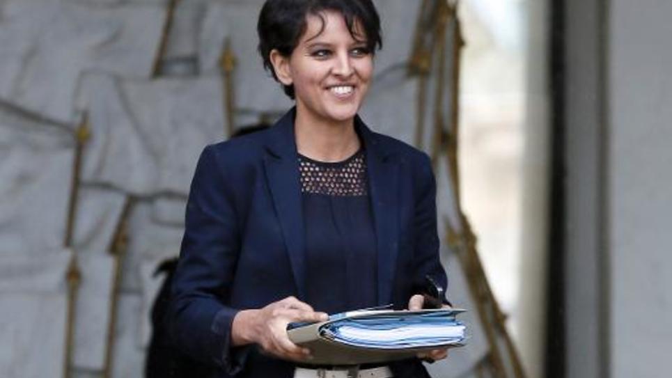 La ministre de l'Education, Najat Vallaud-Belkacem, sort du palais de l'Elysée, le 20 mai 2015 à Paris