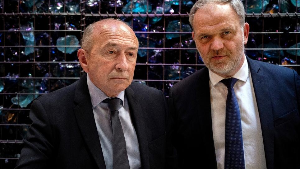 Gérard Collomb (G) et François-Noël Buffet le 28 mai 2020 à Lyon
