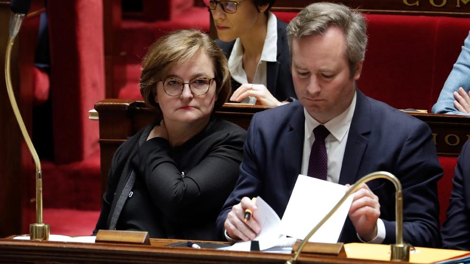 Nathalie Loiseau en compagnie de Jean-Baptiste Lemoyne lors des questions à l'Assemblée, à Paris le 16 janvier 2019