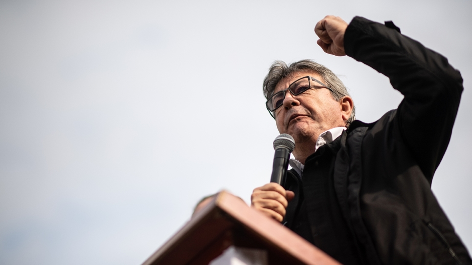 Jean-Luc Melenchon lors d'une manifestations de soutien aux Kurdes le 12/10/2019 à Paris