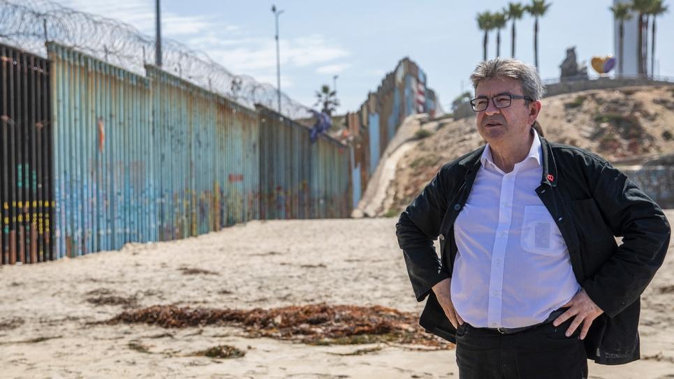 Jean-Luc Mélenchon à la frontière entre le Mexique et les Etats-Unis le 23 juillet 2019
