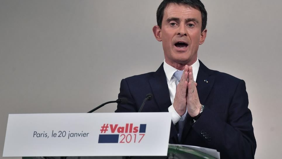 Manuel Valls lors d'un meeting, le 20 janvier 2017 à Paris