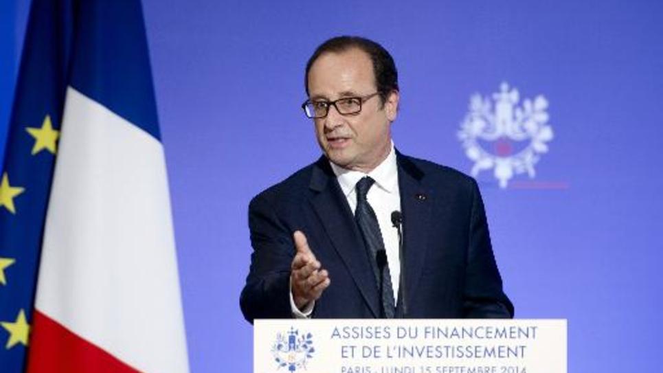 Le président français François Hollande à l'Elysée à Paris, le 15 septembre 2014