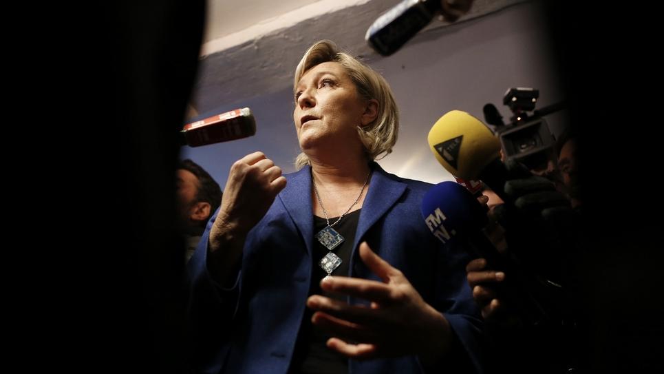 Marine Le Pen, le 6 janvier 2017, lors d'un déplacement à Igoville (Eure)