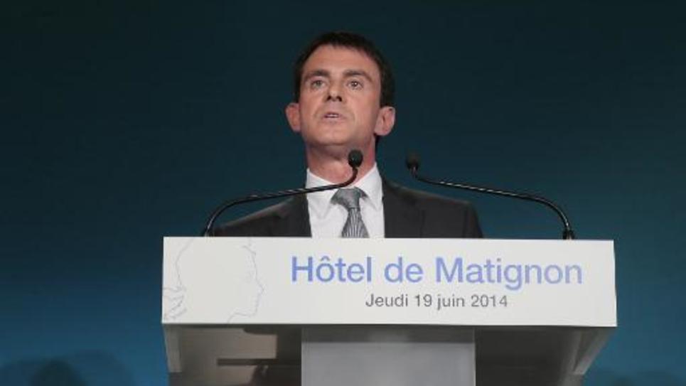 Le Premier ministre Manuel Valls lors d'une conférence sur les intermittents du spectacle, à Matignon, à Paris, le 19 juin 2014