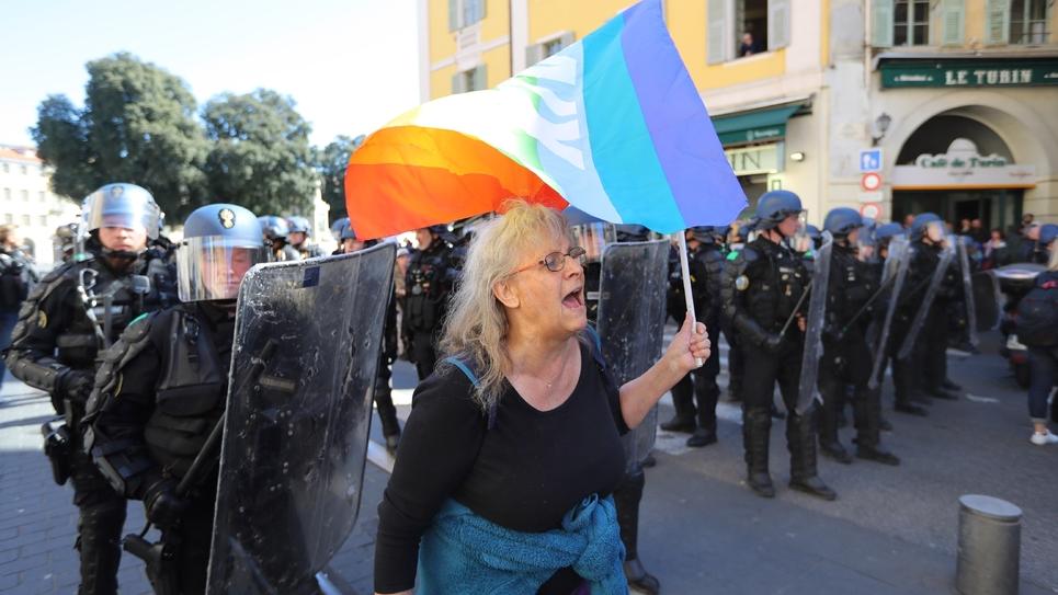 Geneviève Legay pendant la manifestation des gilets jaunes à Nice le 23 mars 2019