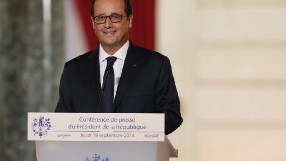 François Hollande lors d'une conférence de presse à l'Elysée le 18 septembre 2014