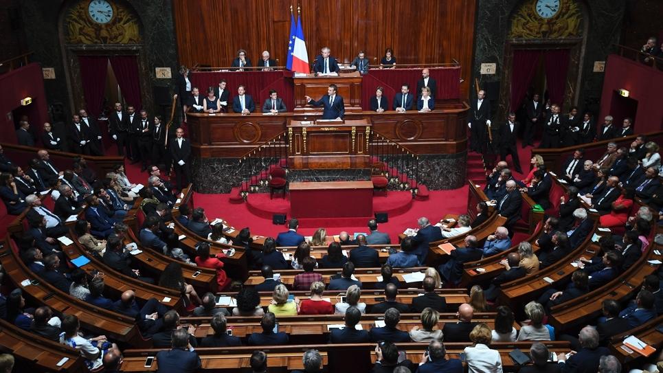 Le président Emmanuel Macron devant les parlementaires en congrès à Versailles, le 3 juillet 2017