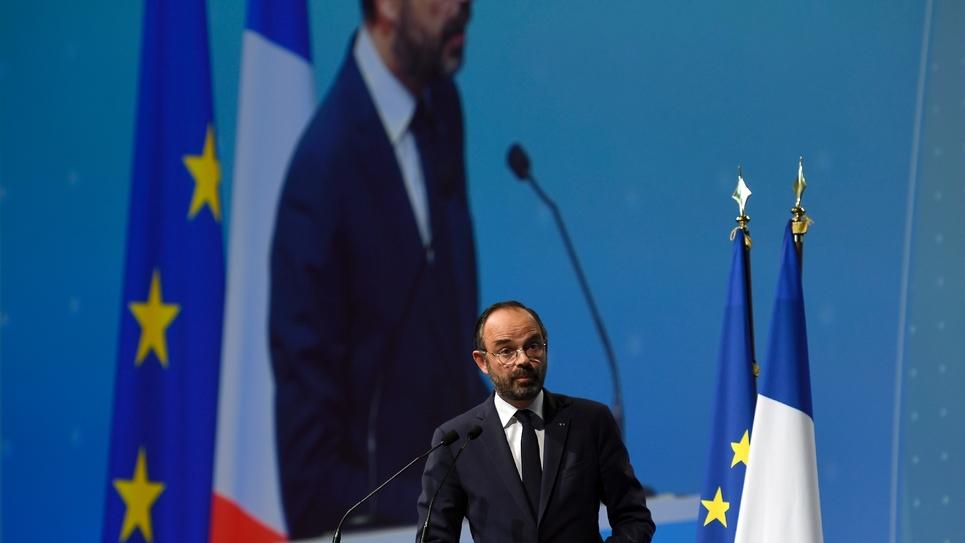 Le Premier ministre Edouard Philippe devant le congrès de l'Association des maires de France à Paris, le 22 novembre 2018