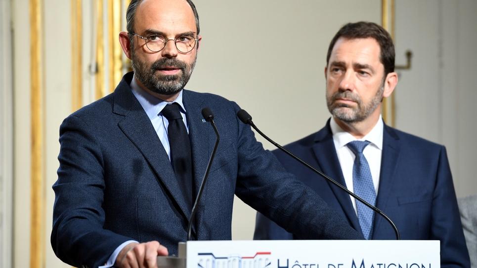 Edouard Philippe et Christophe Castaner lors d'une conférence de presse à Matignon, le 18 mars 2019