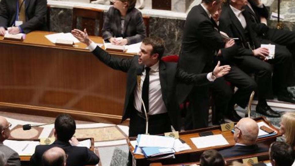 Le ministre de l'Economie Emmanuel Macron à l'assemblée le 17 février 2015