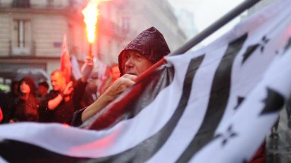 Manifestation contre la réforme territoriale à Nantes le 28 juin 2014, dans l'ouest de la France