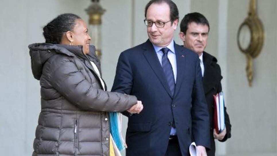 Christiane Taubira et François Hollande à l'Elysée, le 11 mars 2015 à Paris