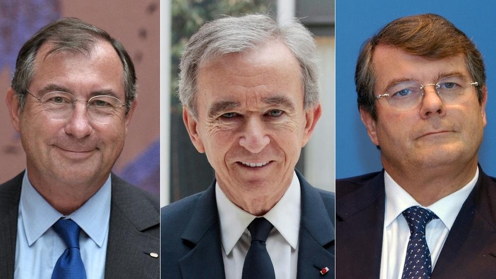 Francois-Henri Pinault, Martin Bouygues, Bernard Arnault, Olivier Bouygues et Marc Ladreit de Lacharriere