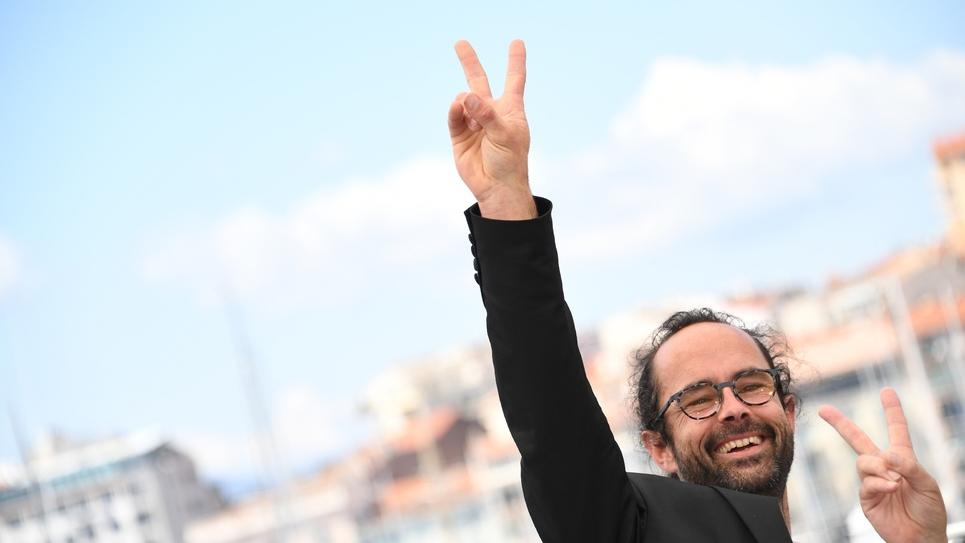 """Le paysan militant Cédric Herrou au festival de Cannes, le 18 mai 2018, pour la présentation du film """"A tous vents"""""""