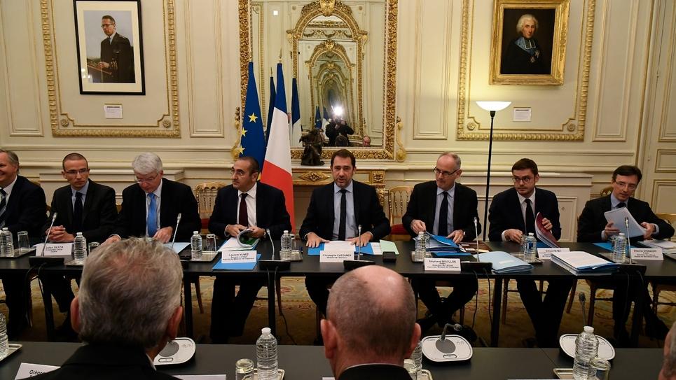 Christophe Castaner reçoit les syndicats de police, le 18 décembre 2018 à Beauvau