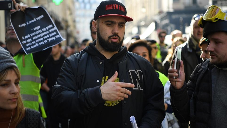 """Eric Drouet lors d'une manifestation des """"gilets jaunes"""" à Paris le 16 février 2019"""