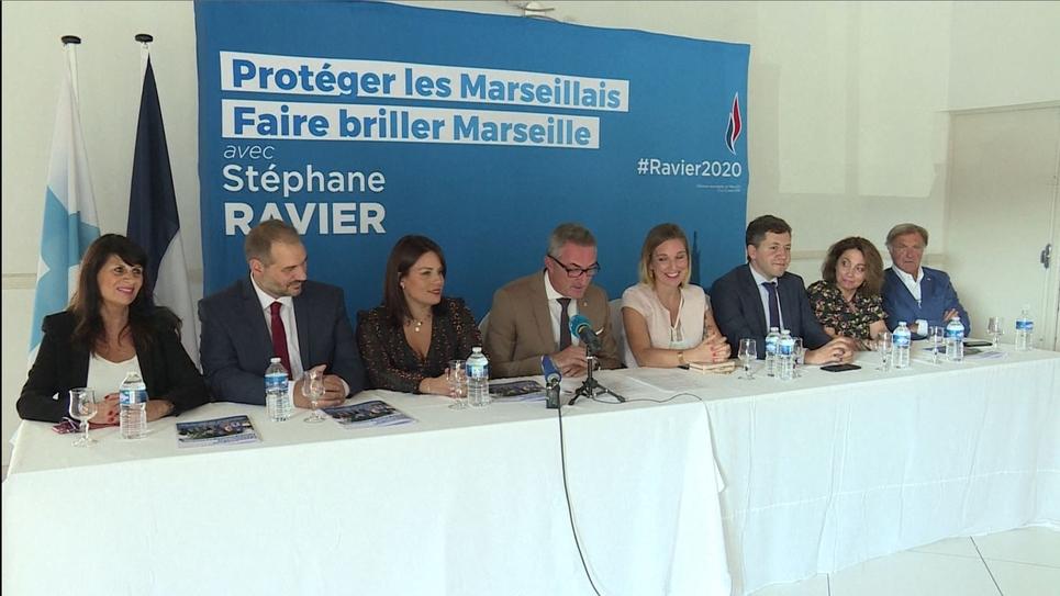 Capture d'écran d'une vidéo AFPTV du lancement de la campagne aux municipales à Marseille de Stéphane Ravier, le 19 septembre 2019