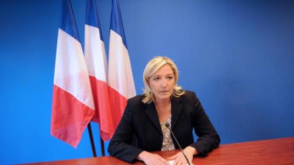 Marine Le Pen lors d'une conférence de presse, le 25 juin 2014