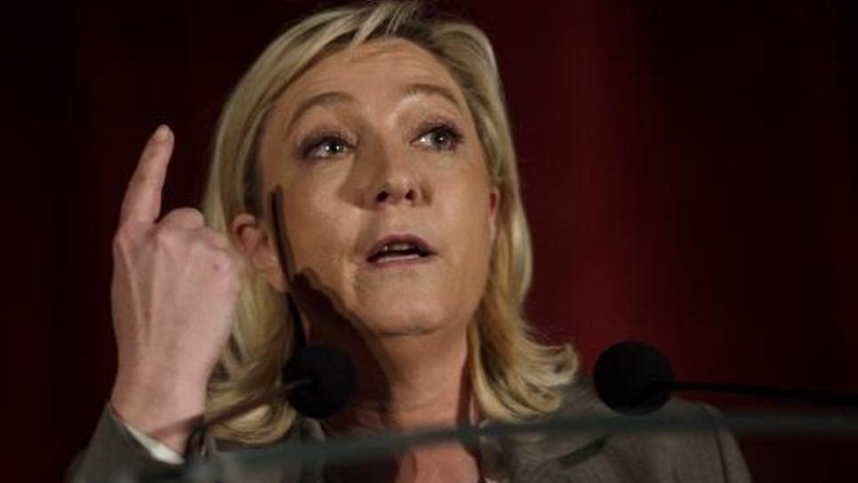 La présidente du FN Marine Le Pen à Hénin-Beaumont (Pas-de-Calais), le 25 mars 2015