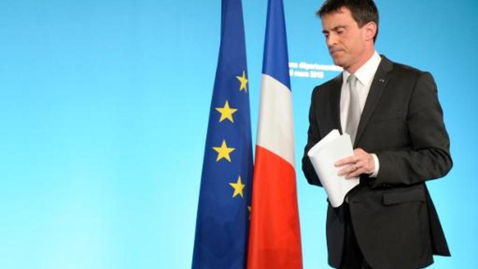 Le Premier ministre Manuel Valls vient de prononcer un discours au soir du premier tour des élections départementales, le 22 mars 2015, à Matignon