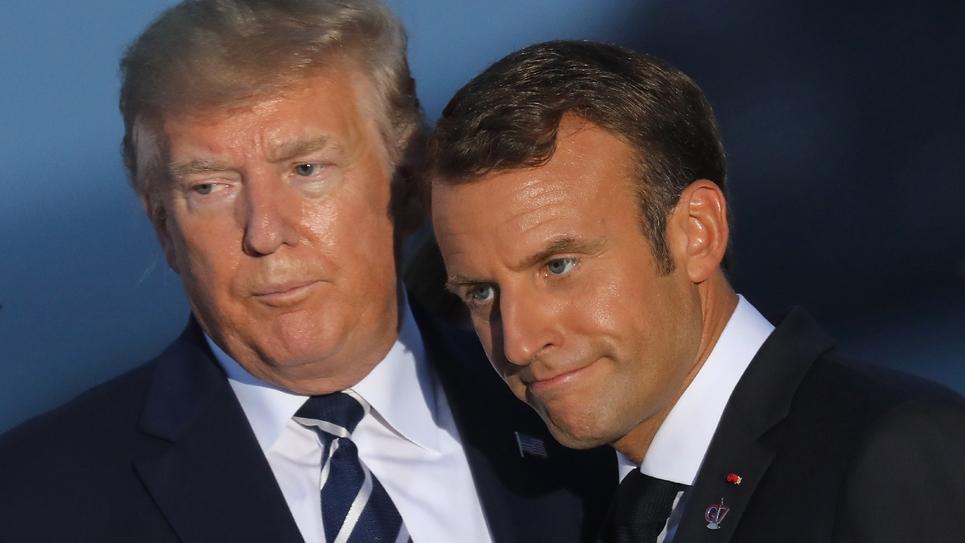 Les présidents américain Donald Trump (g) et français Emmanuel Macron, le 25 août 2019 à Biarritz lors du sommet du G7