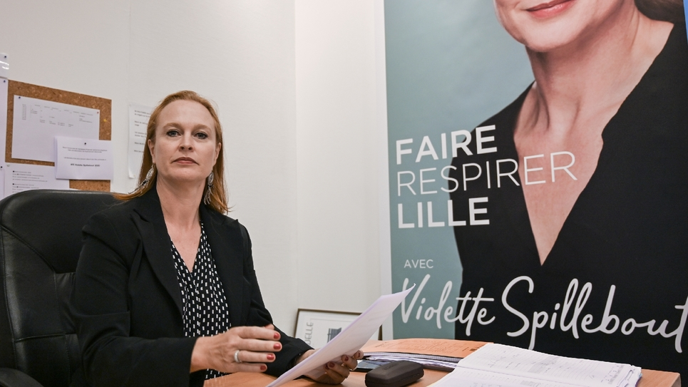 Violette Spillebout, candiadte à la mairie de Lille, dans son QG de campagne, le 18 octobre 2019