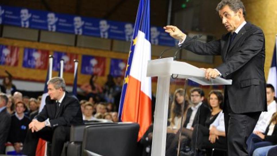 Nicolas Sarkozy lors d'un meeting le 15 octobre 2014 à Saint-Cyr-sur-Loire (centre)
