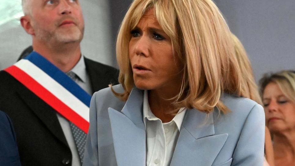 L'épouse du président de la République, Brigitte Macron, lors d'un déplacement à Azincourt (Pas-de-Calais), jeudi 29 août 2019.